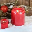 Two Red Christmas Candles — Stock Photo #30857511