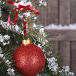 Stock Photo: Red Christmas Ball and Ribbon