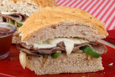 Sliced Roast Beef Sandwich — Stock Photo