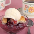 Cherry Cobbler and Ice Cream — Stock Photo