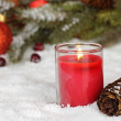 Red Christmas Candle — Stockfoto