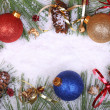 Christmas Balls and Pine Cones — Stock Photo