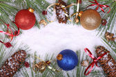 Christmas Balls and Pine Cones — Stock fotografie