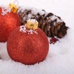 Snowy Red Christmas Balls — Stock Photo