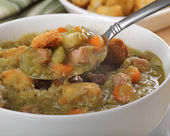 Spoonful of Pea Soup — Stock Photo
