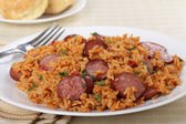 Sausage and Rice Dinner — Stock Photo