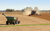 Combining Soybeans — Stock Photo