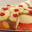 Stock Photo: Sliced Pineapple Upside Down Cake