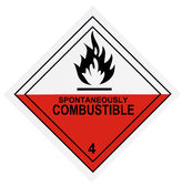 Spontaneously Combustible Warning Label — Stock Photo