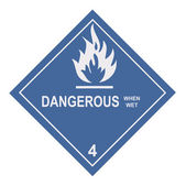 Dangerous When Wet Warning Label — Stock Photo