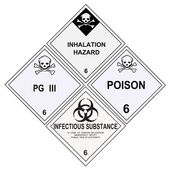 Poison Inhalation Infectious Warning Labels — Stock Photo