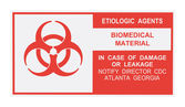 Etiologic Agents Warning Label — Stock Photo