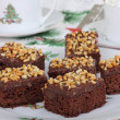 Plate of Christmas Brownies — 图库照片