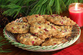 Plate of Cranberry Christmas Cookies — Stock Photo