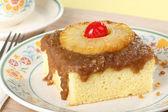 Piece of Pineapple Upside Down Cake — Stock Photo