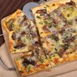 Cheese Steak Pizza Slices — Stock Photo