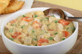 Creamy Chicken Soup Closeup — Stock Photo