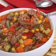 Stock Photo: Spoonful of Vegetable Beef Soup