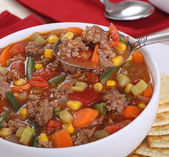 Spoonful of Vegetable Beef Soup — Stock Photo