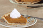 Pumpkin Pie and Whipped Cream — Stock Photo