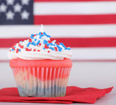 Patriotic Cup Cake Closeup — Stock Photo