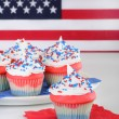 Cupcakes and Flag — Stock Photo