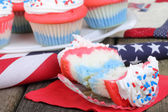 Red White and Blue Cupcakes — Stock Photo