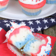 American Holiday Cupcake — Stock Photo
