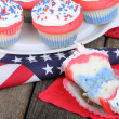 Independence Day Cupcakes — Stock Photo