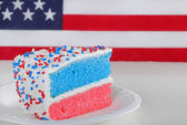 Slice of Red White and Blue Cake — Stock Photo