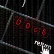 Stock Photo: DDoS concept with focus on return button overlaid with b