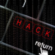 Hack concept with the focus on the return button overlaid with b — Stock Photo