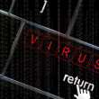 Virus concept with the focus on the return button overlaid with — Stock Photo