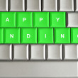 Happy ending spelled on a metallic keyboard — Stock Photo