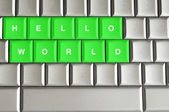 Hello world spelled on keyword — Stock Photo