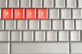 Hack spelled on a keyboard — Stock Photo