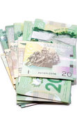 Series of twenty Canadian dollars folded the Asian way — Stock Photo
