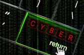 Cyber concept with the focus on the return button overlaid with — Foto Stock