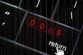 DDoS concept with the focus on the return button overlaid with b — Stock Photo