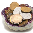 Tidy sundries tray vide-poche with Canadian coins inside — Stock Photo