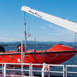 Lifeboat hanging a deck of cruise ship — Stock Photo
