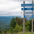 Stock Photo: Signpost showing challenges ahead and three options