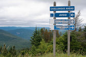 Signpost showing challenges ahead and three options — Stock Photo
