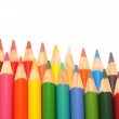 Two rows of coloring pencils — Stock Photo
