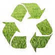 Stock Photo: Recycle sign made with grass on white background