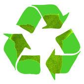 Recycle ondertekenen gemaakt met groene leaf op witte achtergrond — Stockfoto