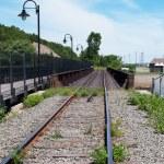 Railway railroad tracks for trains — Stock Photo #31977609