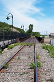 Railway railroad tracks for trains — Stock Photo
