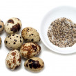 Eight quail eggs salt and pepper — Stock Photo