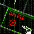 Delete with focus on return button overlaid with binary code — Stock Photo